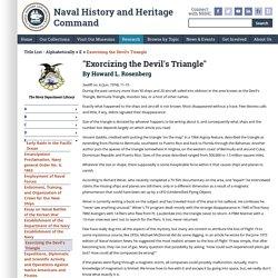 Exorcizing the Devil's Triangle