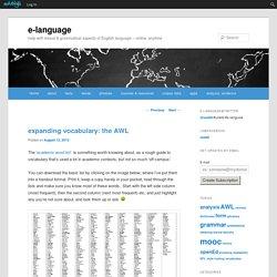 expanding vocabulary: the AWL