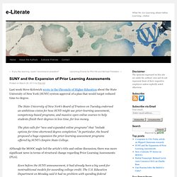 SUNY and the Expansion of Prior Learning Assessments