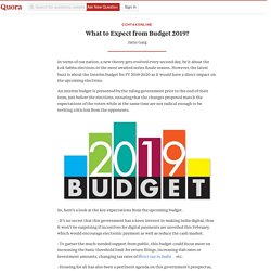What to Expect from Budget 2019? - CCHTaxOnline - Quora