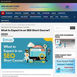 What to Expect in an SEO Short Course? – Web Online Studio