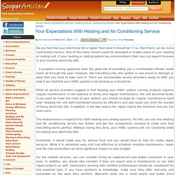 Your Expectations With Heating and Air Conditioning Service