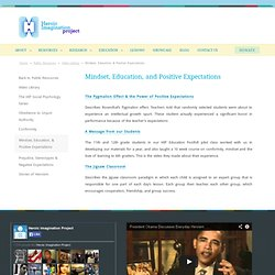 Mindset, Education, & Positive Expectations