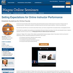 Setting Expectations for Online Instructor Performance - Magna Publications