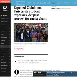 Expelled Oklahoma University student expresses 'deepest sorrow' for racist chant