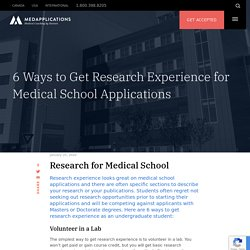 6 Ways to Get Research Experience for Med School Applications