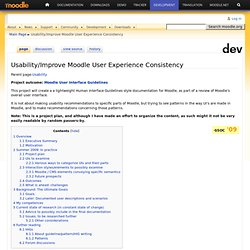 Usability/Improve Moodle User Experience Consistency