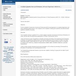 Resume - Graduate Quantity Surveyor/Estimator, 10 Years Experience with B.Sc., AAIQS, ICI...