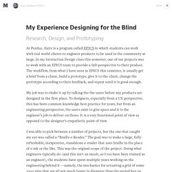 My Experience Designing for the Blind