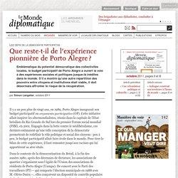 Que reste-t-il de l'expérience pionnière de Porto Alegre ?, par Simon Langelier