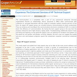 Experience The Enhanced Services of HP Technical Support