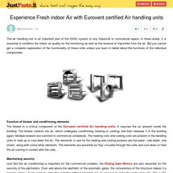 Experience Fresh indoor Air with Eurovent certified Air handling units