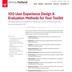 100 User Experience Design & Evaluation Methods for Your Toolkit