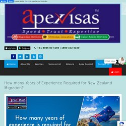 How many years of experience required for New Zealand Immigration?