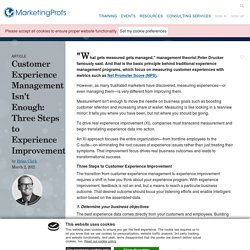 Customer Experience Management and Improvement