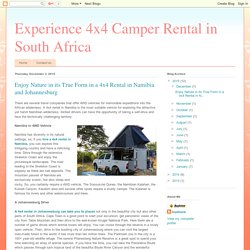 Enjoy Nature in its True Form in a 4x4 Rental in Namibia and Johannesburg