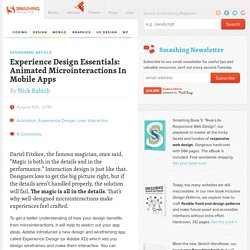 Experience Design Essentials: Animated Microinteractions In Mobile Apps