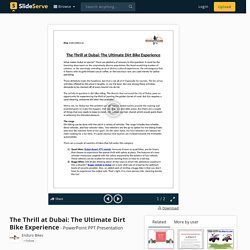 Enduro Bikes - The Thrill at Dubai: The Ultimate Dirt Bike Experience