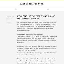 L'expérience Twitter d'une classe de terminale bac pro