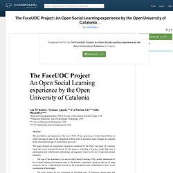 The FaceUOC Project: An Open Social Learning experience by the Open University of Catalonia