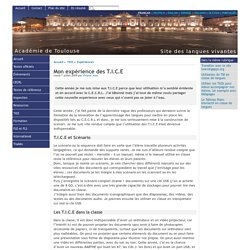 Mon expérience des T.I.C.E - [Site des langues vivantes de l'Académie de Toulouse]