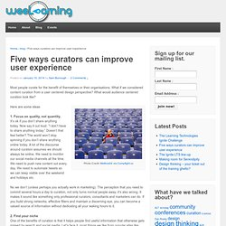 Five ways curators can improve user experience