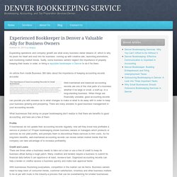 Experienced Bookkeeper in Denver a Valuable Ally for Business Owners