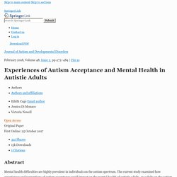 Experiences of Autism Acceptance and Mental Health in Autistic Adults
