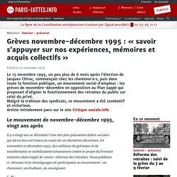 Grèves novembre-décembre 1995 : « savoir s'appuyer sur nos expériences, mémoires et acquis collectifs »