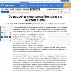 Sciences et Technologies : De nouvelles expériences littéraires sur support digital