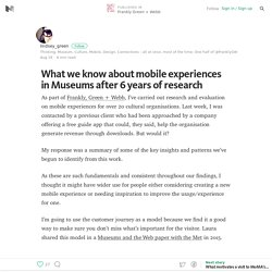 What we know about mobile experiences in Museums after 6 years of research – Frankly Green + Webb – Medium