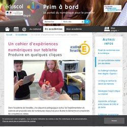 Un cahier d'expériences numériques sur tablette - Prim à bord