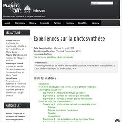 Expériences sur la photosynthèse
