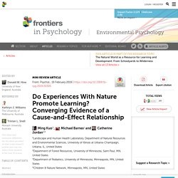 Do Experiences With Nature Promote Learning? Converging Evidence of a Cause-and-Effect Relationship