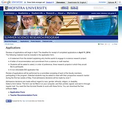 Applications - Summer Science Experiences - Hofstra University