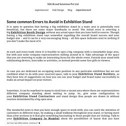 Some common Errors to Avoid in Exhibition Stand