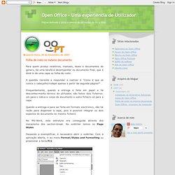 Open Office - Uma experiência de Utilizador: Folha de rosto no mesmo documento