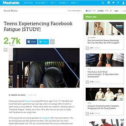 Teens Experiencing Facebook Fatigue [STUDY]