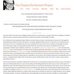 Utrum Quia Experientia Decepti Aristoteles Et D. Thomas Causas Posuerunt Aequivocas In Natura Operantes « The Charles De Koninck Project