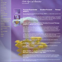 Judith Ayre - Process Experiential Emotion Focused Therapy (PEEFT) for individuals and couples.