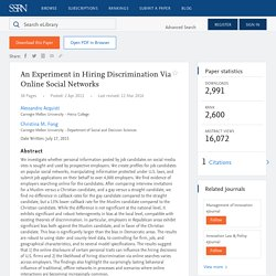An Experiment in Hiring Discrimination Via Online Social Networks