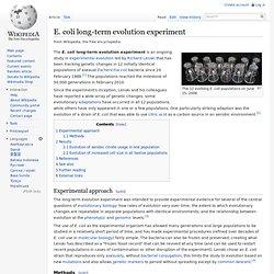 Escherichia coli long-term evolution experiment