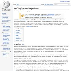 Hofling hospital experiment