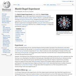 Marsh Chapel Experiment