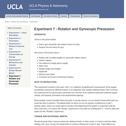 Experiment 7 - Rotation and Gyroscopic Precession