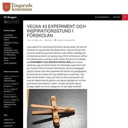 VECKA 43 EXPERIMENT OCH INSPIRATIONSSTUND I FÖRSKOLAN