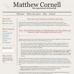 Matt's Idea Blog | Matthew Cornell - Time Management, Productivity Expert
