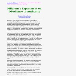 Milgram's Experiment on Obedience to Authority