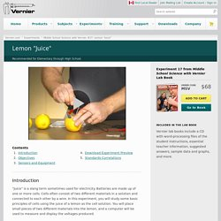 """Lemon """"Juice"""" > Experiment #17 from Middle School Science with Vernier"""