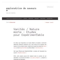 Vanités / Nature morte : Etudes pour ExpérimenTable